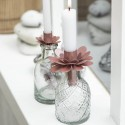 Candle holder f/taper candle flower faded rose