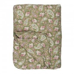 Quilt Green With Faded Rose Paisley 130 x 180cm