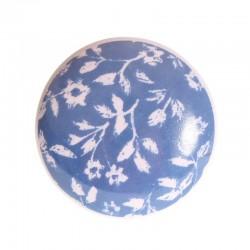 Porcelain knob Flower blue