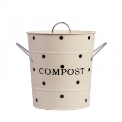 Beige Compost bin with black dots 21×19 cm