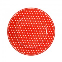 Dessert Plate Polka dots red