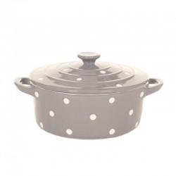 Beige Big Dish with Lid&Dots