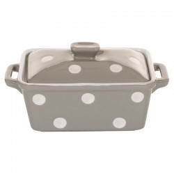 Beige Butter dish with dots