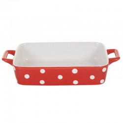 Red Small dish wits dots