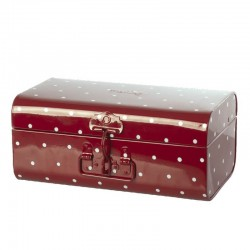 Storage suitcase, Small - Red w. dots