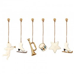 Metal Ornaments in box - White/gold, 6 ass