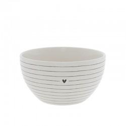 Bowl White/Stripes with Heart in Black Dia 13x7cm