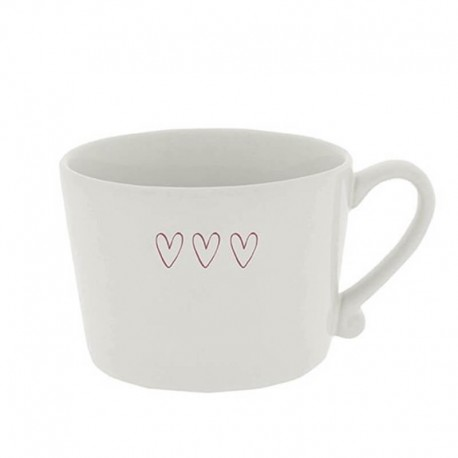 Cup white 3 hearts in red 7x10 cm