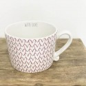 Cup white Heart pattern in Red