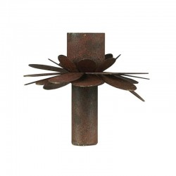 Candle holder f/dinner candle flower rust