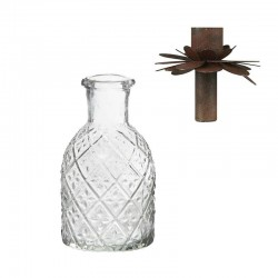Pharmacy glass f/dinner candle harlequin pattern candle flower rust