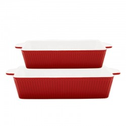 Dishes Alice red rectangular set of 2