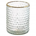 Glass Vase clear w/gold 16 cm