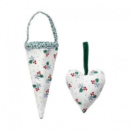 Textil dekoráció, szív alakú Joselyn white 2 db