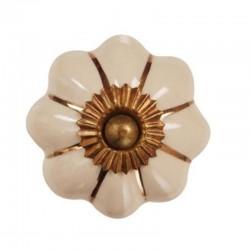 Bútorfogantyú Porcelán Sarah krém, arany