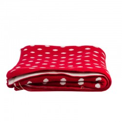 Knitted Throw Red dots...