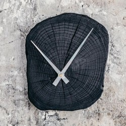 Shou Sugi Ban Wall Clock, grey