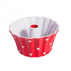 Red Small Round dish with dots
