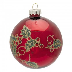 Xmas Ball Glass Elouise red