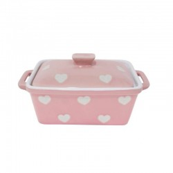 Pastel pink Butter dish with hearts