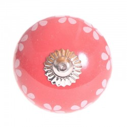 Porcelain knob Flower red