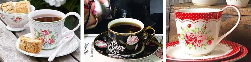 Romantikus porcelán csésze és alj - Skandi Trend