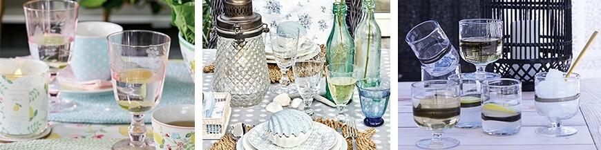 Üveg pohár és tányér - Skandi Trend